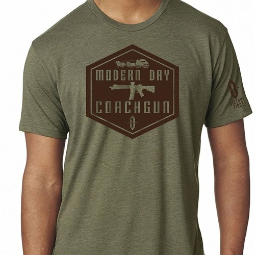 Shield Style Modern Day Coachgun TShirt Military Green XL